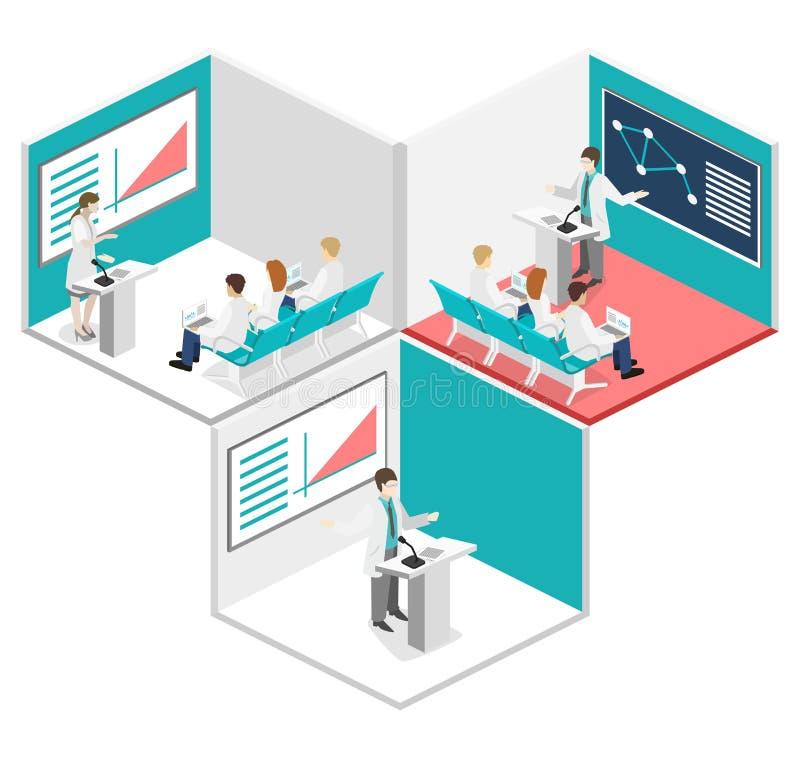 Concepto plano isométrico 3D de conferencia médico libre illustration