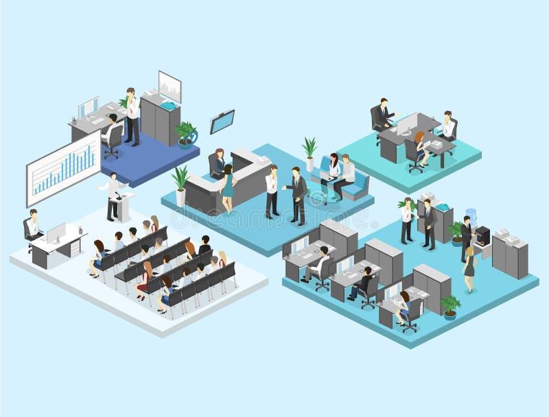 Concepto plano isométrico de los departamentos interiores del piso de la oficina del extracto 3d ilustración del vector