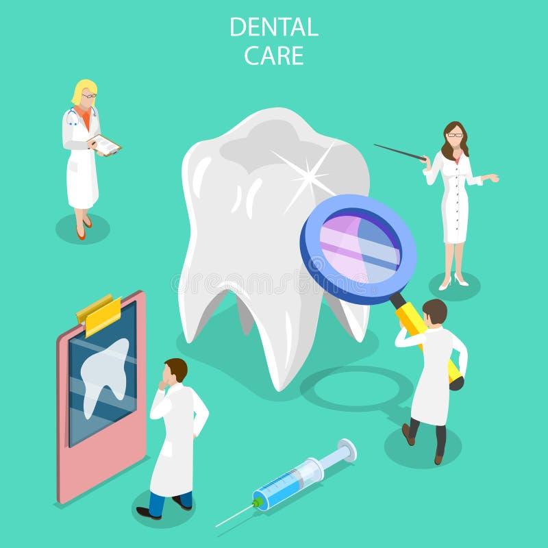 Concepto plano isométrico del vector del chequeo dental, tratamiento de la caries stock de ilustración
