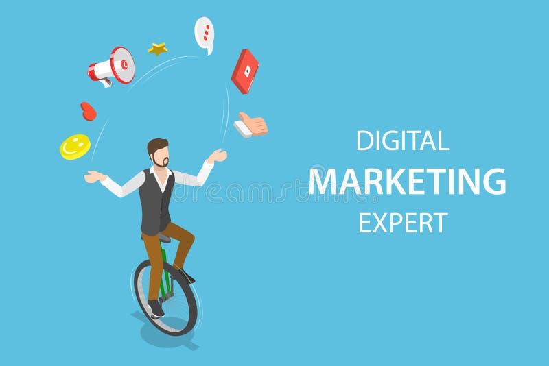 Concepto plano isométrico del vector de experto en marketing digital, seo libre illustration
