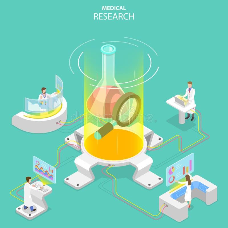 Concepto plano isométrico del vector de investigación médica, tecnología de la ciencia ilustración del vector