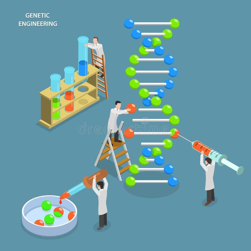 Concepto plano isométrico del vector de la ingeniería genética ilustración del vector