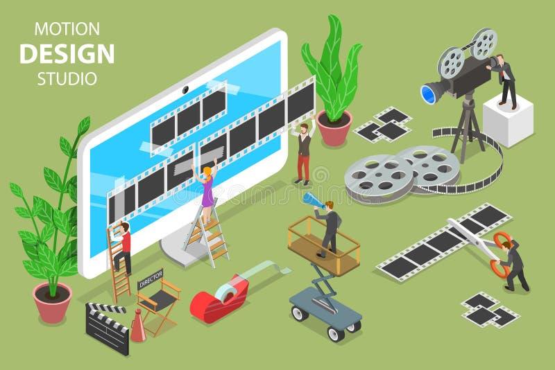 Concepto plano isométrico del vector del estudio del diseño del movimiento libre illustration