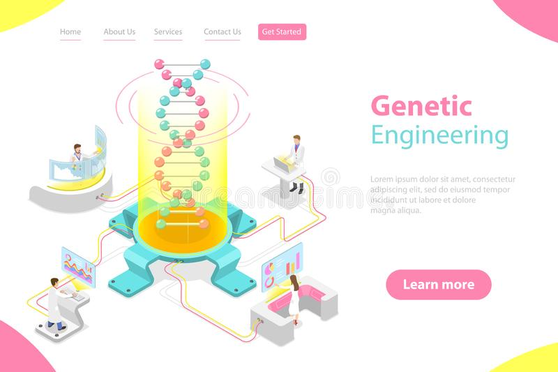 Concepto plano isom?trico del vector de ingenier?a gen?tica, cambio de la estructura de la DNA stock de ilustración