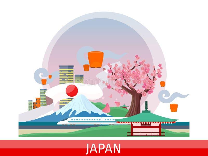 Concepto plano japonés del vector de las atracciones turísticas stock de ilustración