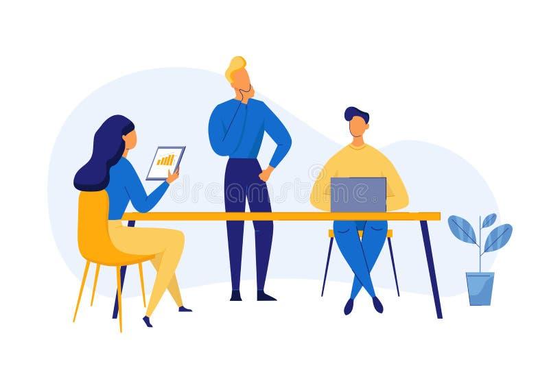 Concepto plano moderno del trabajo en equipo del diseño para la bandera y la página web An?lisis de negocio, estrategia contenta  ilustración del vector