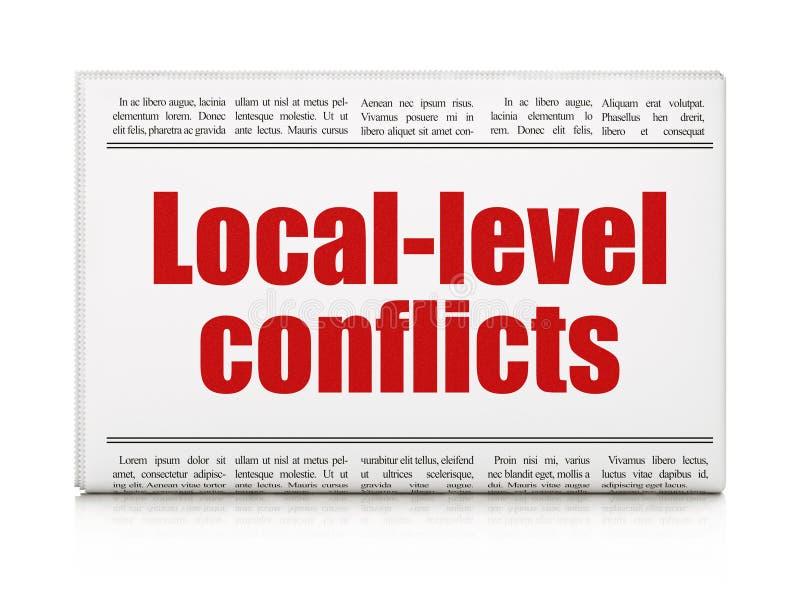 Concepto político: conflictos del nivel local del título de periódico ilustración del vector