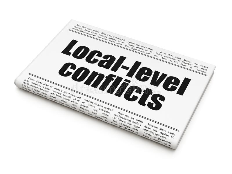 Concepto político: conflictos del nivel local del título de periódico libre illustration