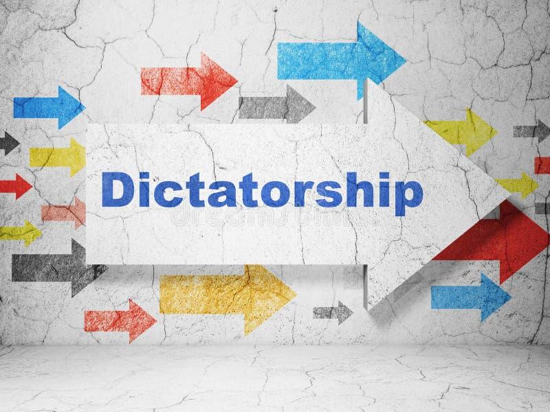 Concepto político: flecha con la dictadura en fondo de la pared del grunge libre illustration