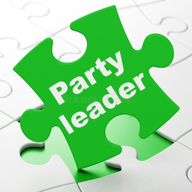 Concepto político: Líder de partido en fondo del rompecabezas stock de ilustración