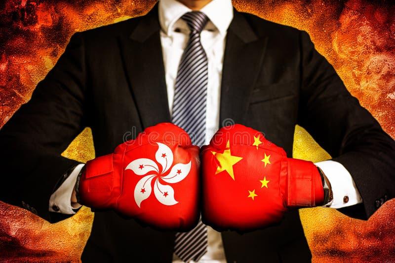 Concepto político y del negocio de guerra comercial entre Hong-Kong y China imágenes de archivo libres de regalías