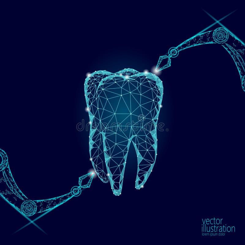 concepto poligonal del brazo del robot de la innovación del diente 3d Asistencia médica dental oral del extracto polivinílico baj libre illustration