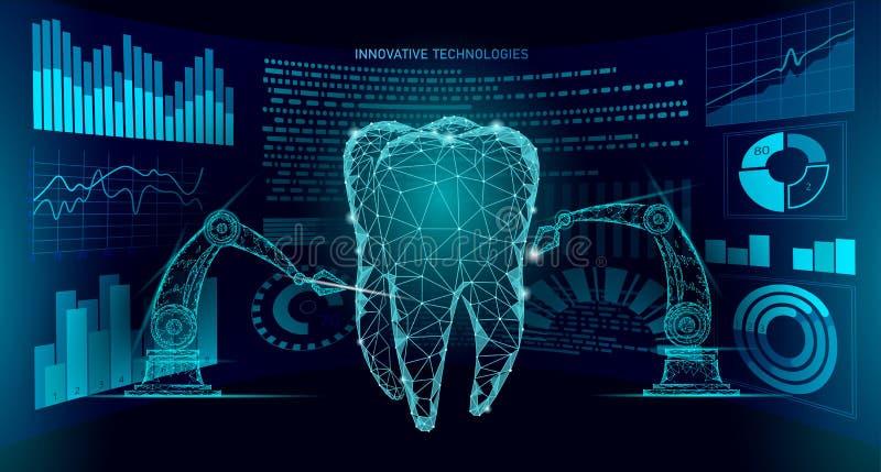 concepto poligonal del brazo del robot de la innovaci?n del diente 3d Asistencia m?dica dental oral del extracto polivin?lico baj ilustración del vector