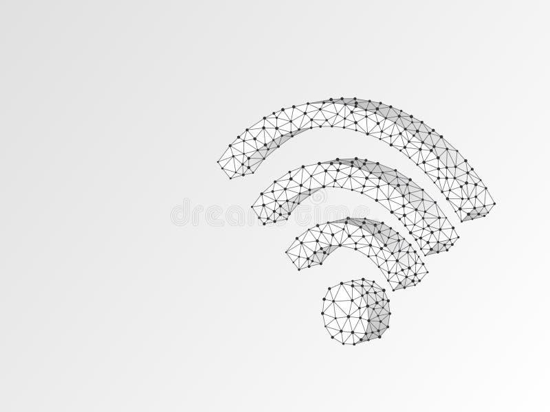 Concepto poligonal inalámbrico del negocio del vector de la papiroflexia 3d del extracto del símbolo de Wi-Fi de conexión, Intern libre illustration