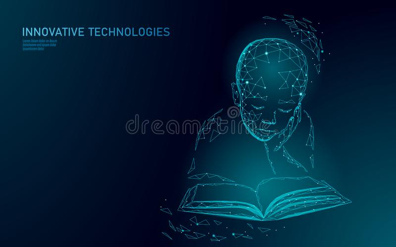 Concepto polivinílico bajo del negocio de la tecnología 3D del aprendizaje de máquina Forma del muchacho del niño del cyborg de l ilustración del vector