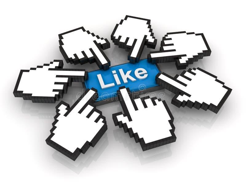 Concepto popular, haciendo clic como el botón ilustración del vector