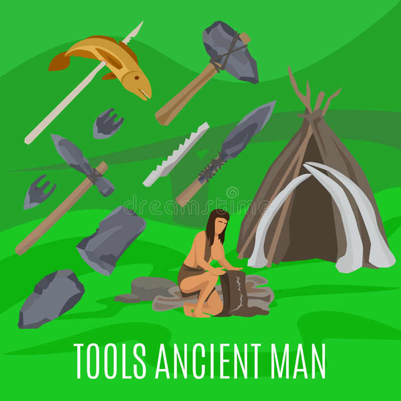 Concepto prehistórico antiguo con las herramientas primitivas stock de ilustración