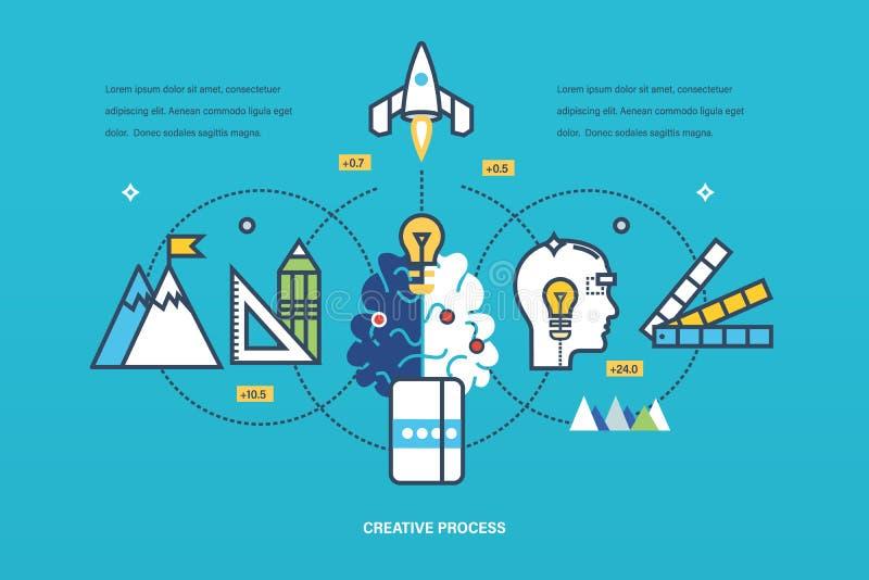 Concepto - proceso creativo de las ideas del pensamiento y de la realización, inspiración stock de ilustración