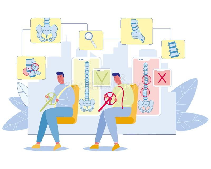 Concepto profesional del vector de las enfermedades de la espina dorsal de los conductores libre illustration