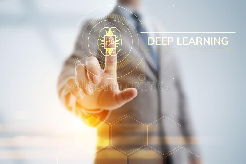 Concepto profundo de la tecnolog?a de inteligencia artificial del aprendizaje de m?quina Hombre de negocios que se?ala en la pant libre illustration