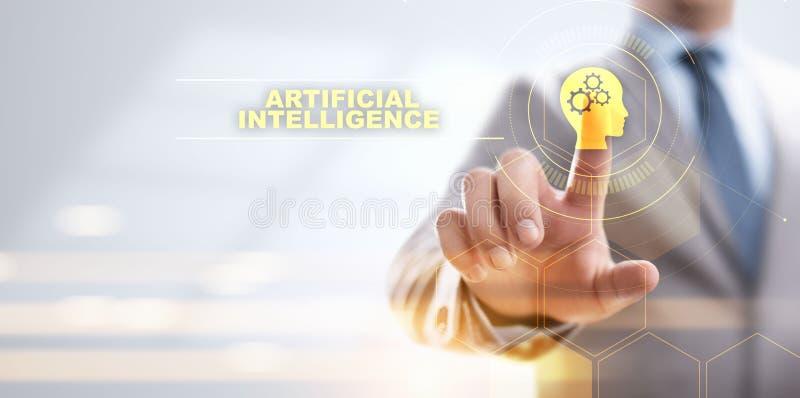 Concepto profundo de la tecnolog?a de inteligencia artificial del aprendizaje de m?quina stock de ilustración