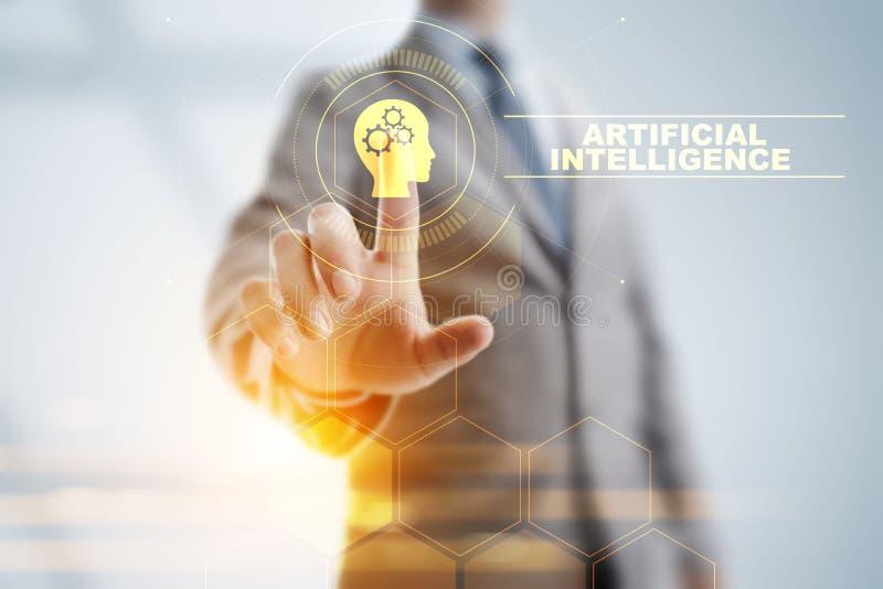 Concepto profundo de la tecnolog?a de inteligencia artificial del aprendizaje de m?quina fotografía de archivo