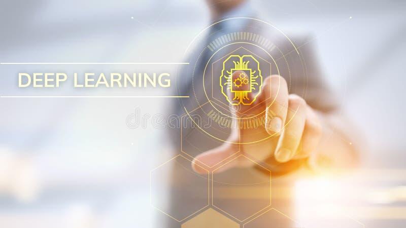 Concepto profundo de la tecnolog?a de inteligencia artificial del aprendizaje de m?quina Hombre de negocios que se?ala en la pant foto de archivo