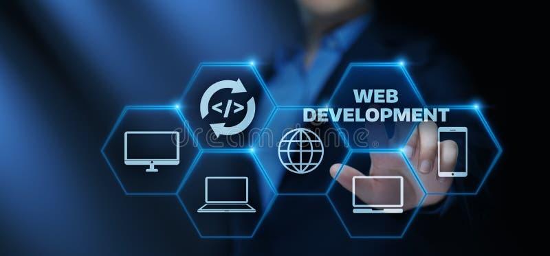 Concepto programado del negocio de la tecnología de Internet de la codificación del desarrollo web fotos de archivo