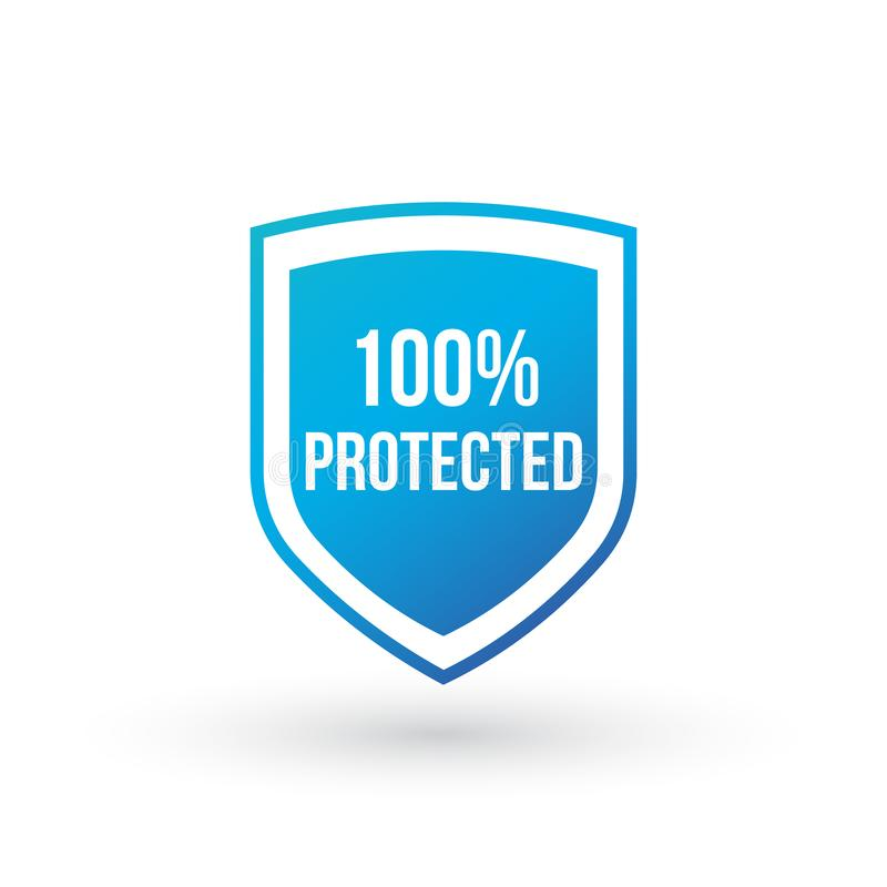 Concepto protegido 100 del escudo del guardia icono de la insignia de la seguridad 100 Bandera del escudo de la garantía de la ai libre illustration