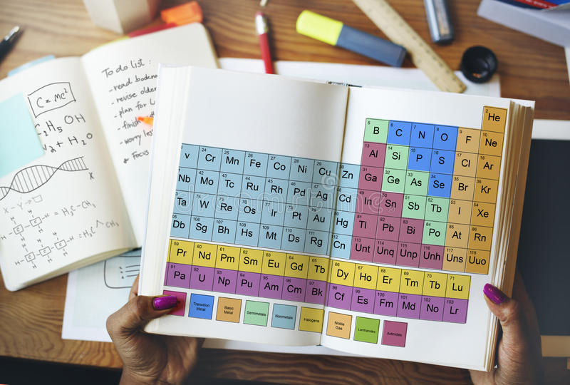 Concepto químico de Mendeleev de la química de la tabla periódica foto de archivo