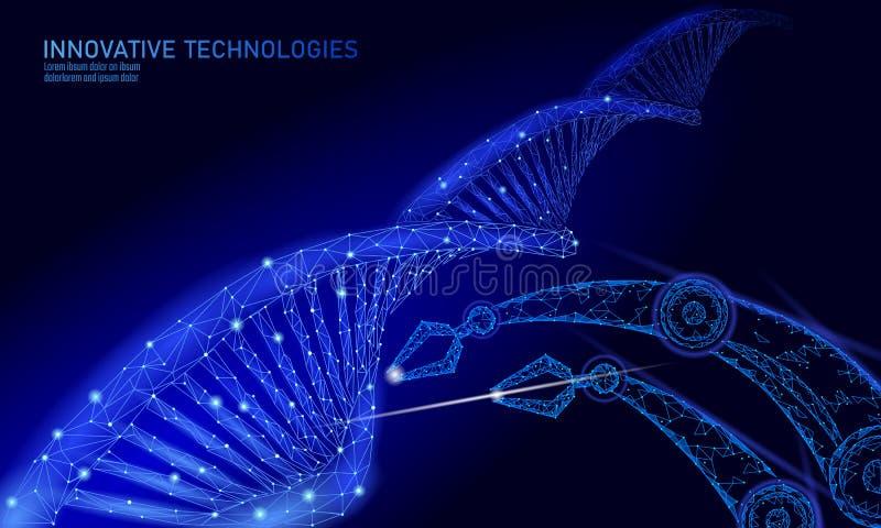 Concepto químico polivinílico bajo de la ciencia de la terapia génica de la DNA Triángulos 3d del laboratorio del polígono que ri ilustración del vector