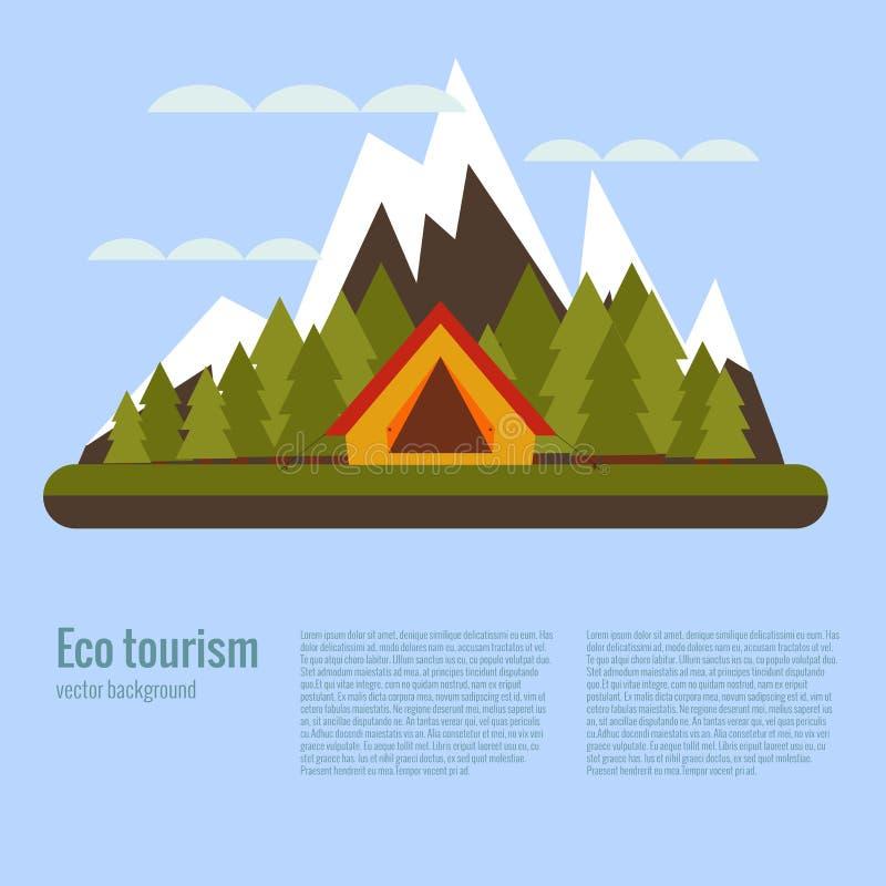 Concepto que acampa del turismo del eco de la historieta del vector libre illustration