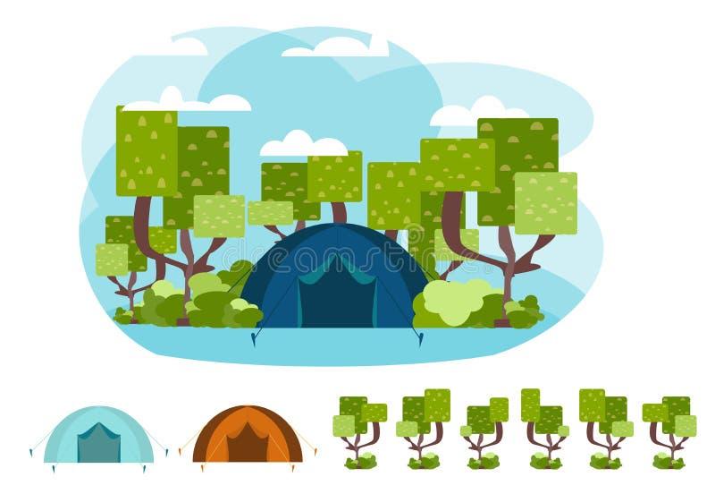Concepto que acampa del vector con la tienda y la naturaleza libre illustration