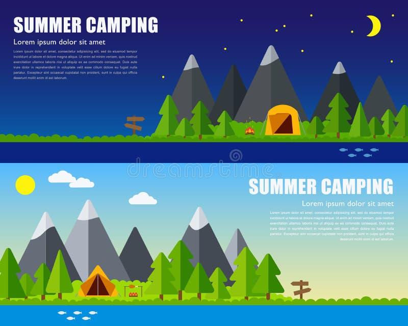 Concepto que acampa del verano del vector stock de ilustración