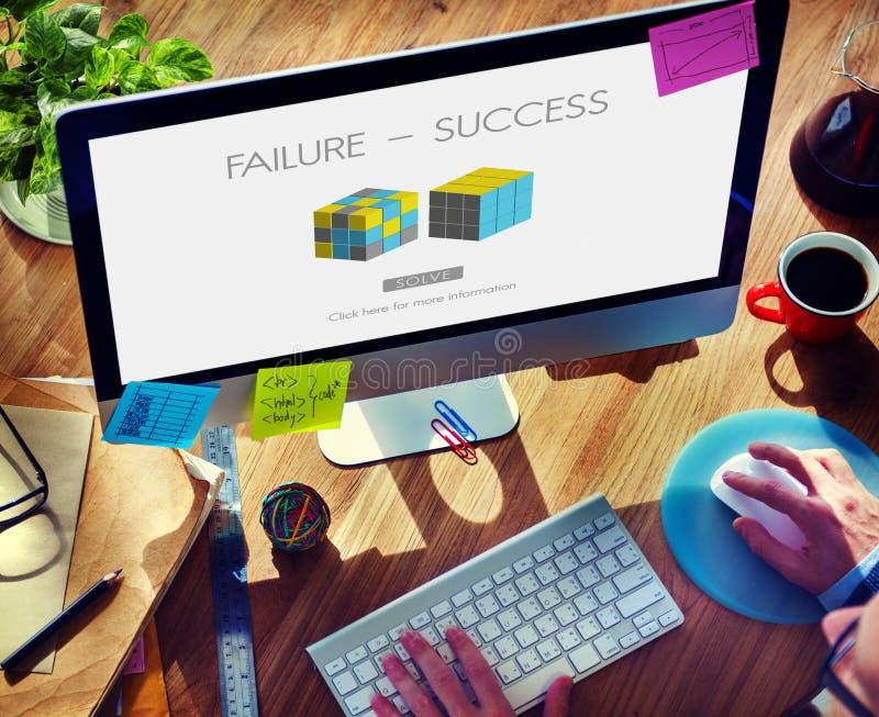 Concepto que falla de la excelencia del logro del éxito del fracaso foto de archivo libre de regalías