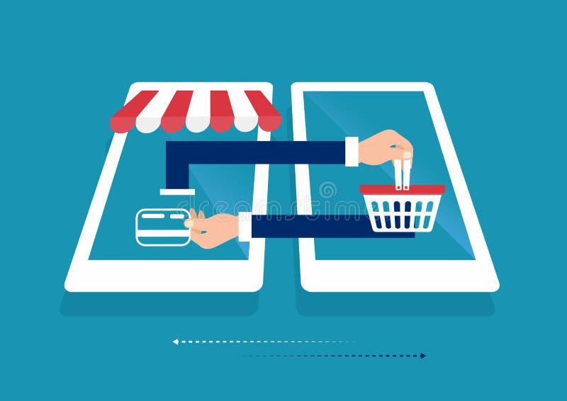 Concepto que hace compras en línea del teléfono elegante del ordenador portátil Tienda en línea, icono del carro de la compra Com libre illustration