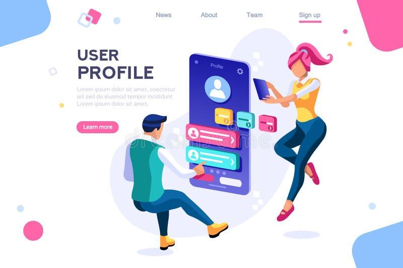 Concepto que obra recíprocamente de Internet del cliente del perfil del cliente libre illustration