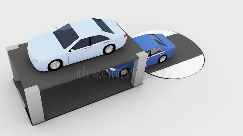 Concepto que parquea doble con dos coches modelo stock de ilustración