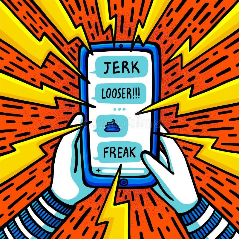 Concepto que tiraniza cibernético Adolescente que es tiranizado por los mensajes de texto abusivos Ejemplo plano del vector del e ilustración del vector