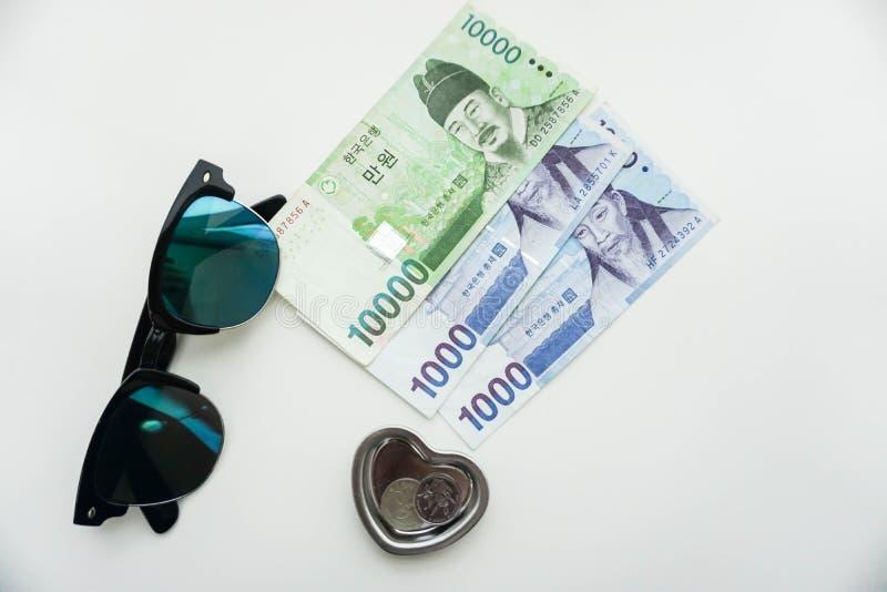 Concepto que viaja de dinero en moneda ganada con las gafas de sol fotografía de archivo