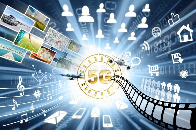 Concepto rápido de la transferencia de datos con el símbolo 5G foto de archivo