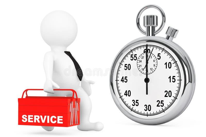 Concepto rápido del servicio persona 3d con la caja de herramientas y el cronómetro rojos ilustración del vector