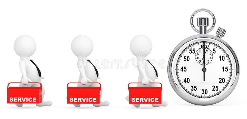 Concepto rápido del servicio personas 3d con la caja de herramientas y el cronómetro rojos libre illustration