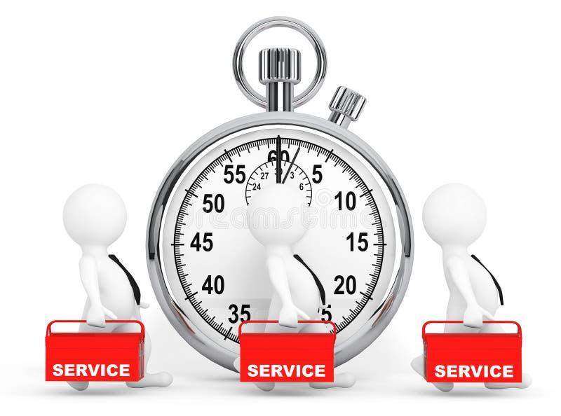 Concepto rápido del servicio personas 3d con la caja de herramientas y el cronómetro rojos ilustración del vector