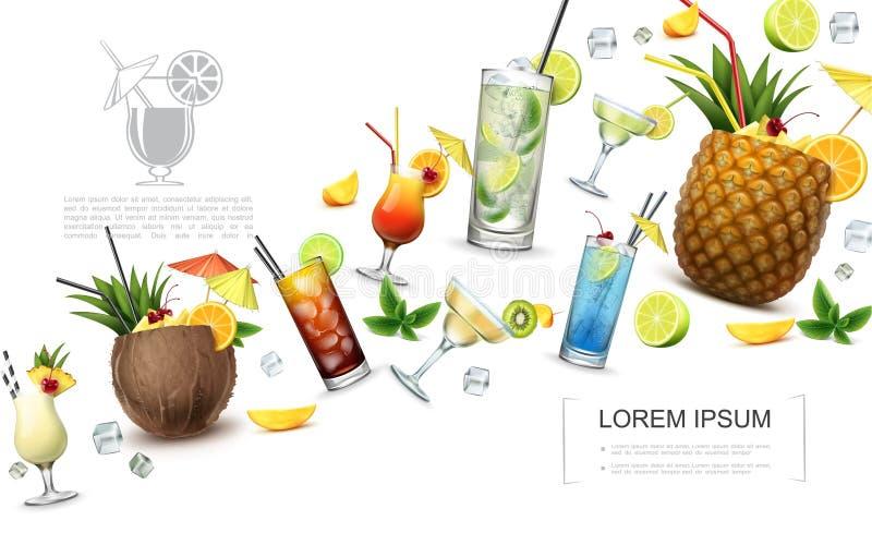 Concepto realista de las bebidas de alcohólico ilustración del vector