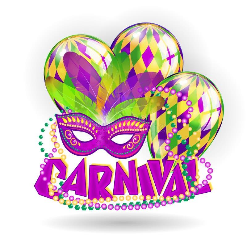 Concepto realista del carnaval con las máscaras y los globos en el fondo blanco Ilustración del vector stock de ilustración