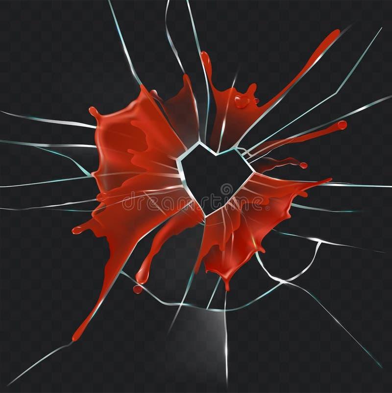 Concepto realista sangriento del corazón de cristal quebrado ilustración del vector