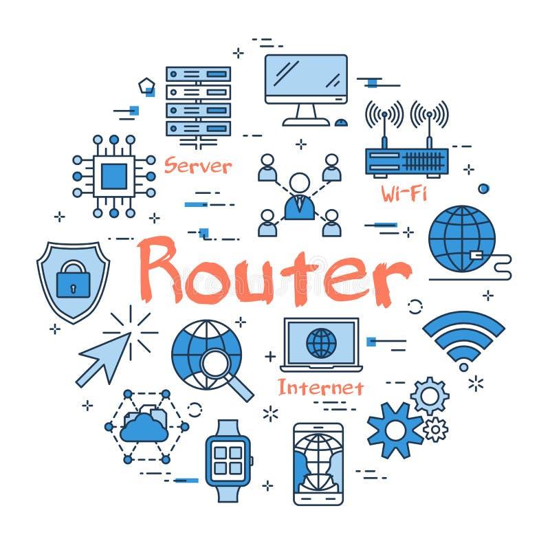 Concepto redondo azul del router ilustración del vector