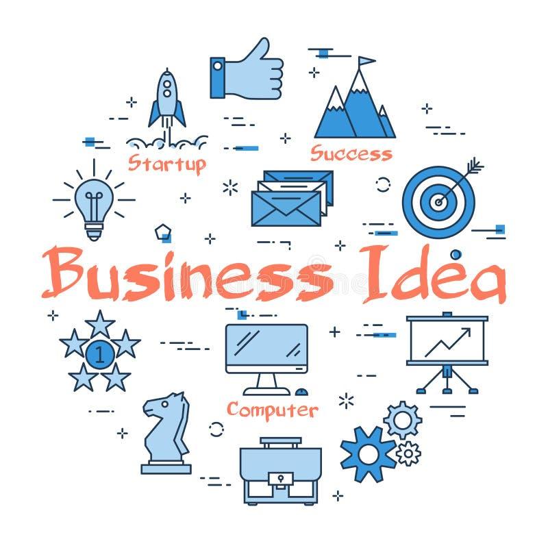 Concepto redondo azul del texto de la idea del negocio ilustración del vector