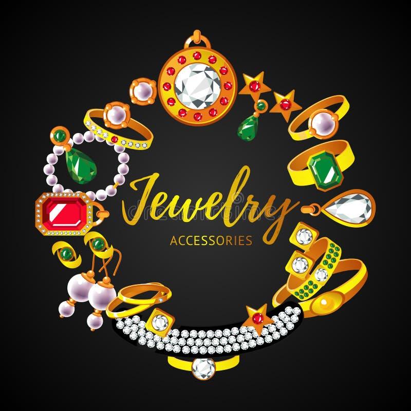 Concepto redondo de los accesorios hermosos de la joyería stock de ilustración